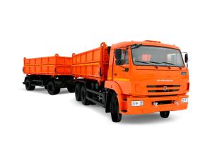 Бортовой автомобиль КАМАЗ-45143 с прицепом НЕФАЗ-8560 (зерновоз) фото